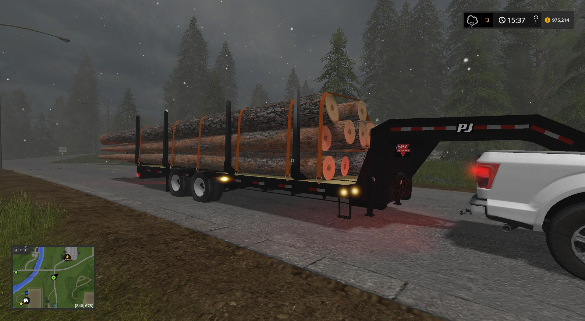 Pj Trailer 25ft Plus Log Trailer V1 Fs17 Farming