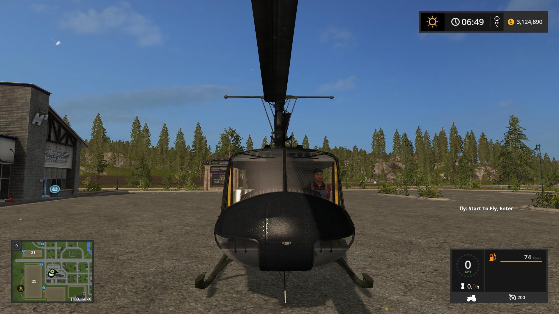BELL UH1D US ARMY V1.0 LS17 - Farming simulator 17 / 2017 mod