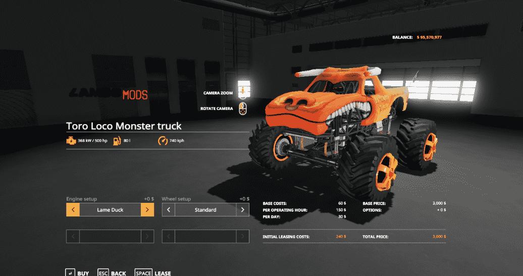 Monster Truck ToroLoco LS 19 - Farming simulator 17 / 2017 mod